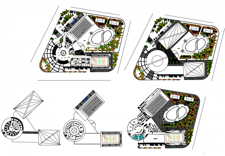 Five star hotel ground and first floor plan details with landscaping structure dwg file