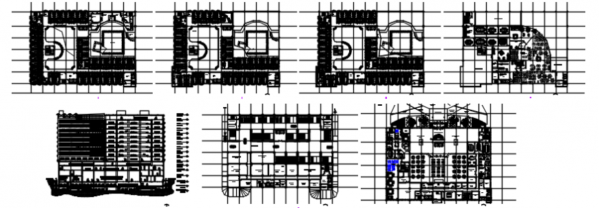 Five star hotel main elevation, sections and floor plan cad drawing details dwg file