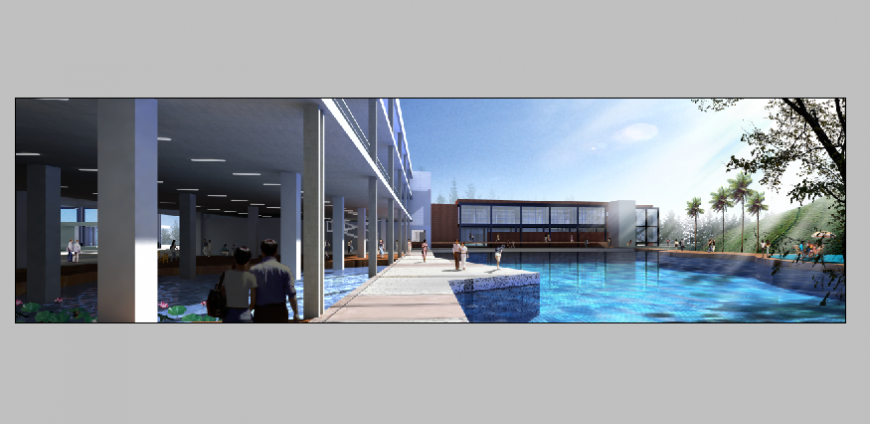 Five star hotel outdoor swimming pool and walking lobby design photoshop file