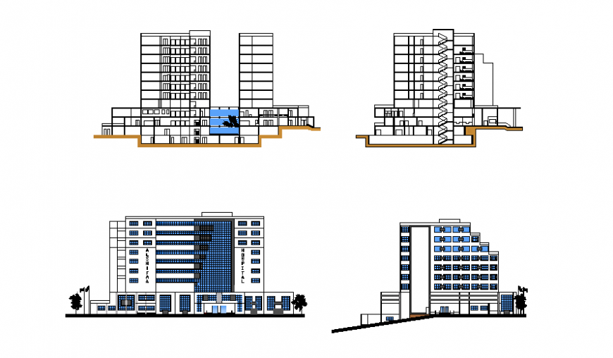 Five star luxuries hotel building facade and back elevation and sectional details dwg file
