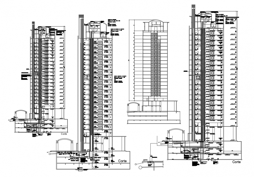 Five star multi-story luxuries hotel elevation and section cad drawing details dwg file