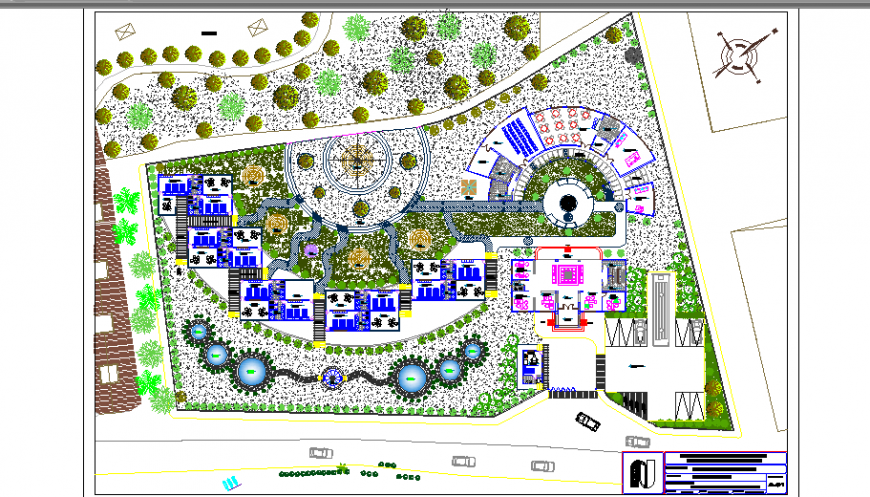 Five star tourist hotel landscaping structure cad drawing details dwg file