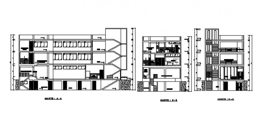 Five story apartment building elevation and sections drawing details dwg file