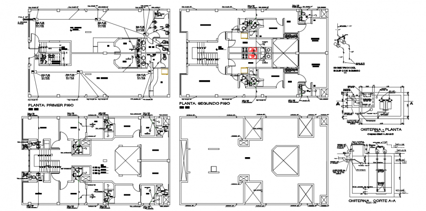 Five story apartment building floor plan distribution with sanitary installation dwg file