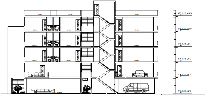 Five story apartment building front section drawing details dwg file