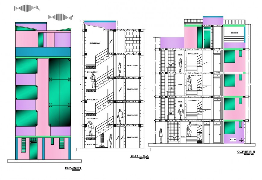 Five story hotel building main elevation and section drawing details dwg file