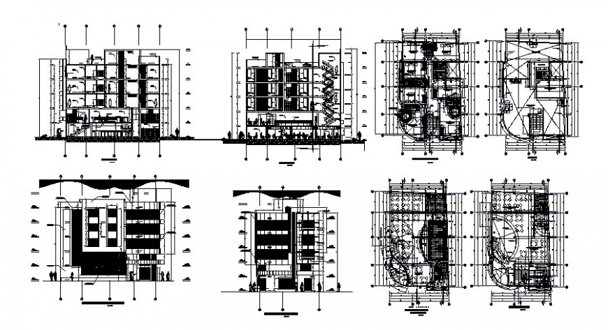 Five story hotel elevation, section and floor plan distribution cad drawing details dwg file