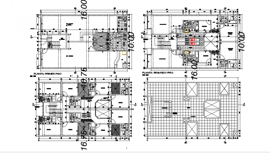 Five story multi-familiar building floor plan distribution drawing details dwg file