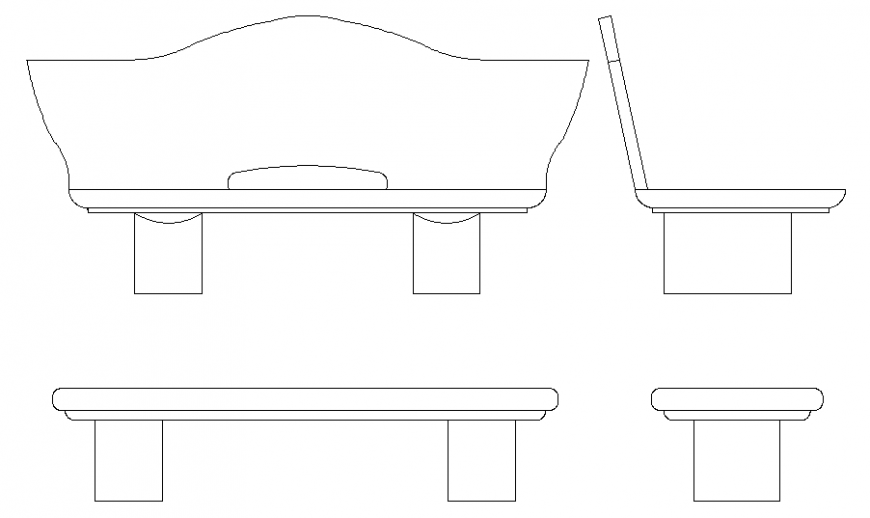 Flat bench all sided elevation cad block details dwg file