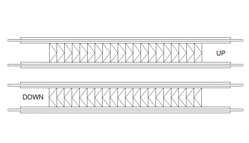 Flat elevators up and down top view elevation cad drawing details dwg file