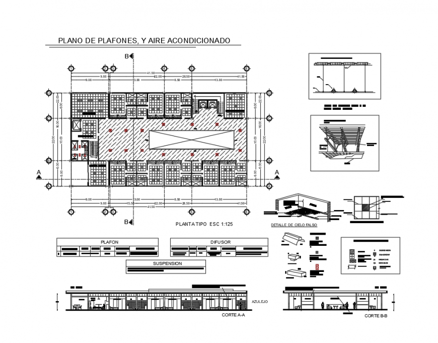 Flat panel, and air conditioning installation details with facade and cut sectional details of school dwg file