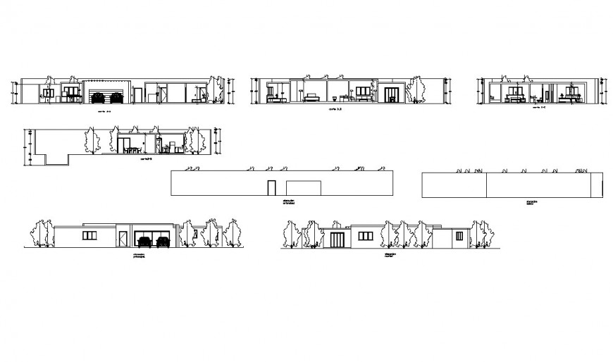 Flat urban house all sided elevation and section cad drawing details dwg file
