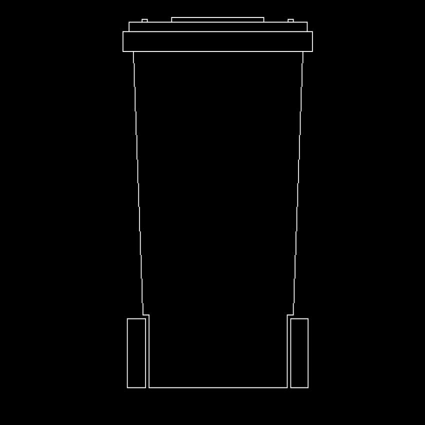 Flexible dustbin front view cad block design dwg file