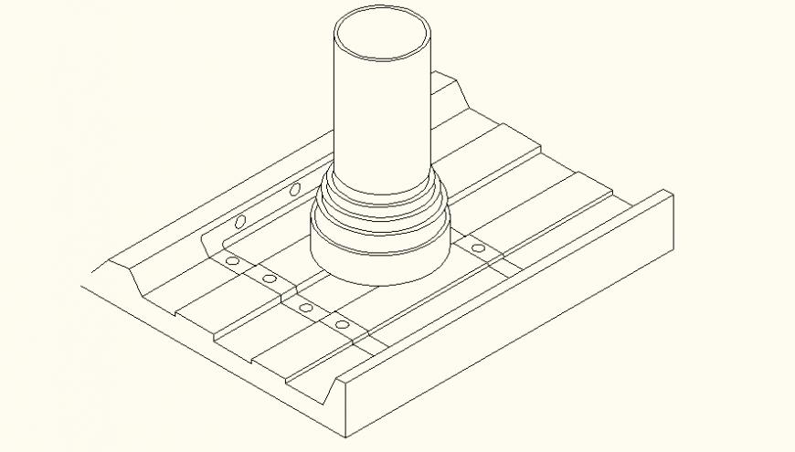 Flexible Pipe Flashing detail dwg file