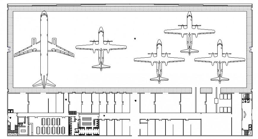 Flight parking at aircraft cad file