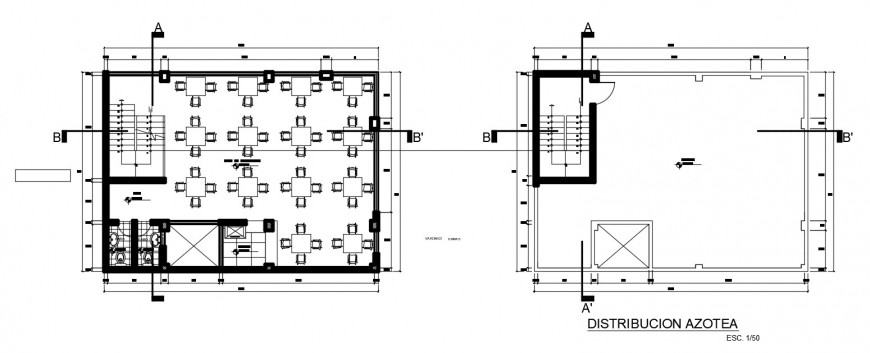 Floor and terrace plan of restaurant building 2d view autocad file