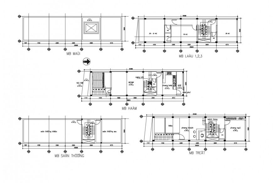 Floor distribution and framing plan details of corporate office building dwg file