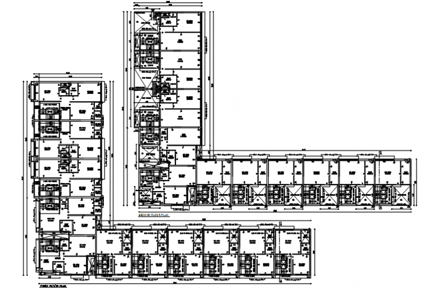 Floor distribution drawing details of residential flats dwg file