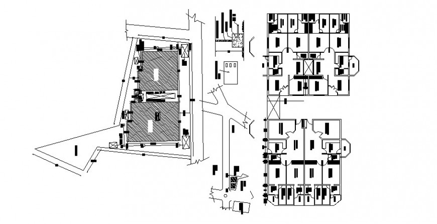 Floor distribution layout, site layout and auto-cad drawing details of apartment building dwg file