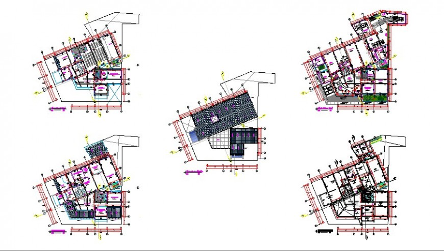 Floor distribution layout plan details of regional office building dwg file
