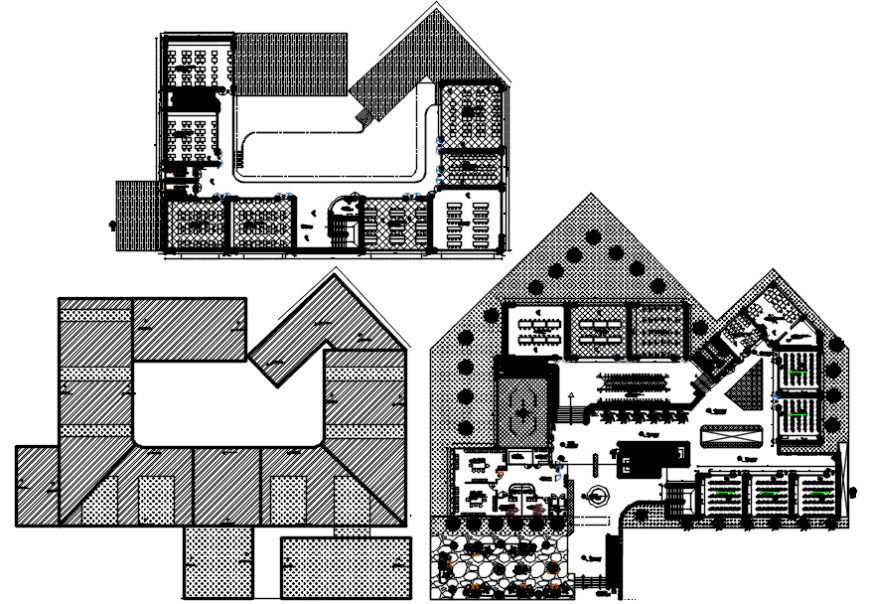 Floor distribution layout plan drawing details of architecture college dwg file