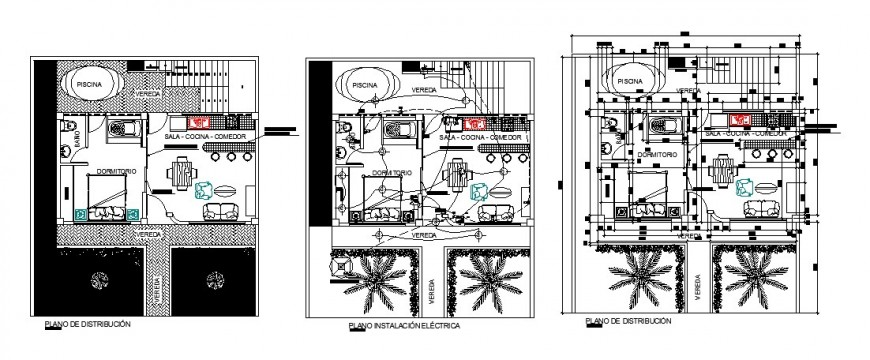 Floor distribution plan and electrical installation layout plan details of one family house dwg file
