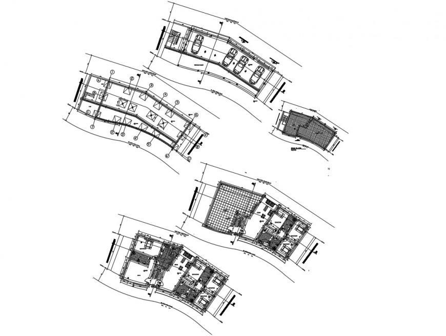 Floor distribution plan details of multi-familiar apartment building dwg file