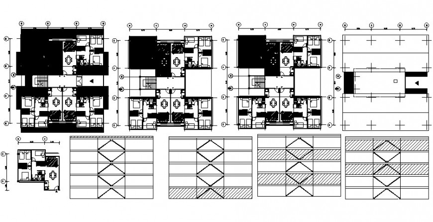 Floor distribution plan with furniture and structure for apartment building dwg file