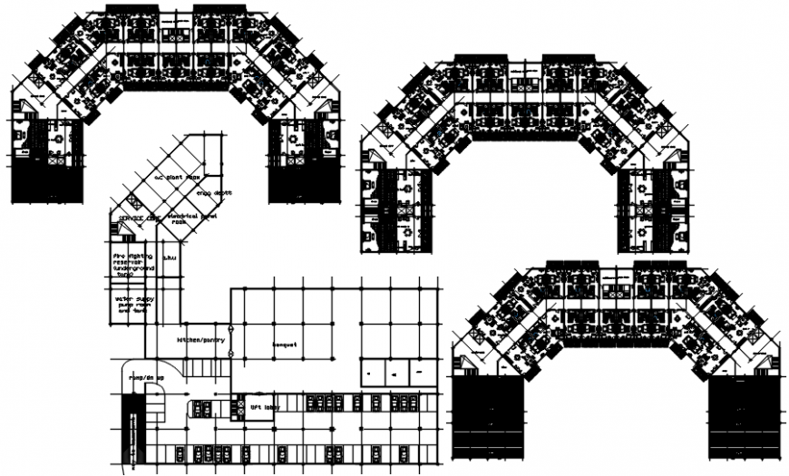 Floor distribution plan with furniture of five star luxuries hotel dwg file