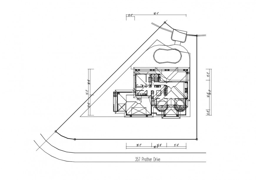 Floor framing plan structure details of club house dwg file