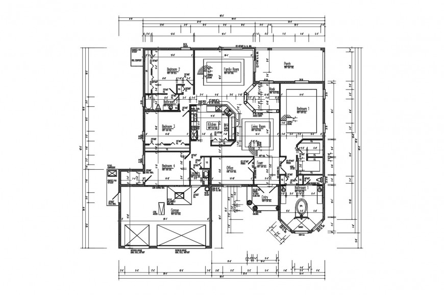 Floor framing plan structure details of single family dwelling house dwg file