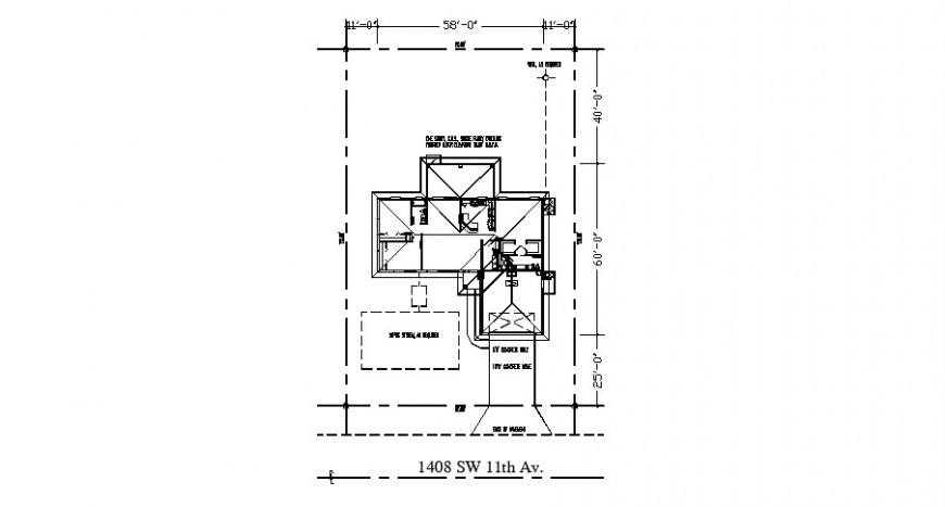 Floor framing structure and site plan details for house dwg file