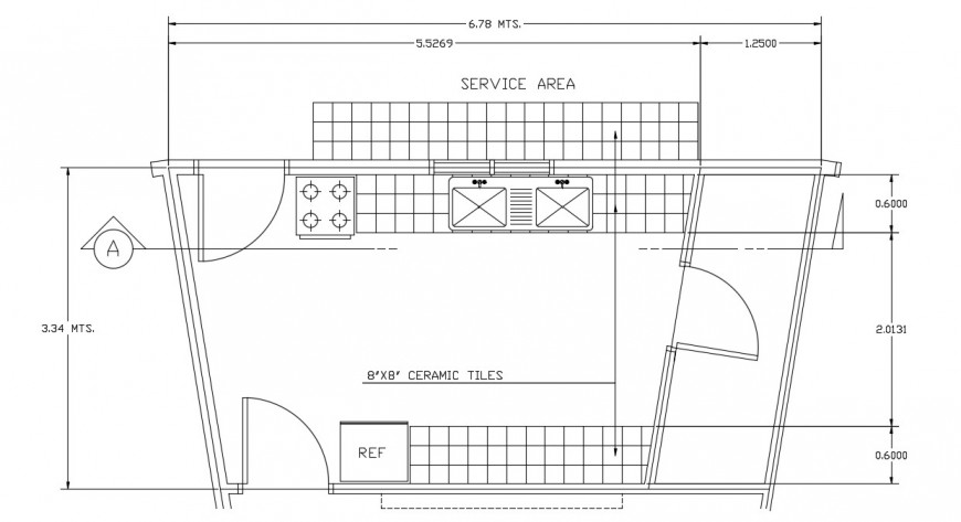 Floor layout CAD drawings details of kitchen area dwg file