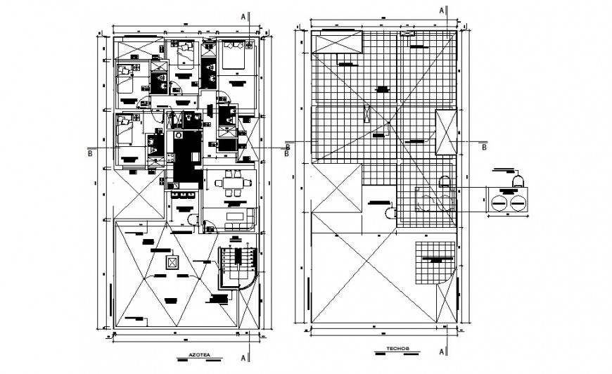 Floor layout plan detail with furniture detail dwg file