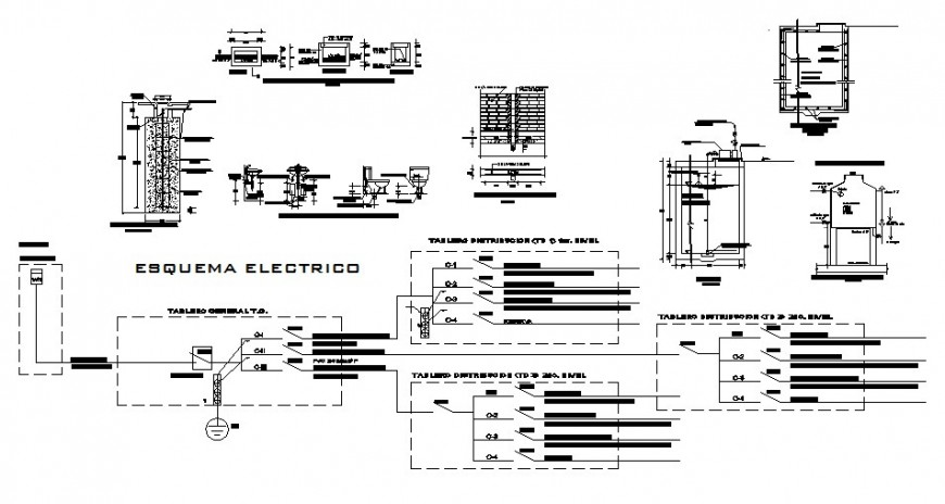 Floor plan, electrical installation and sanitary installation details of hotel building dwg file