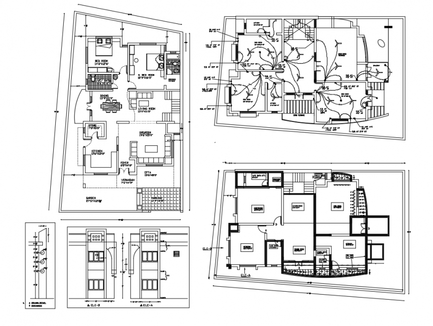 Floor plan, electrical layout plan and auto-cad details of one family bungalow dwg file