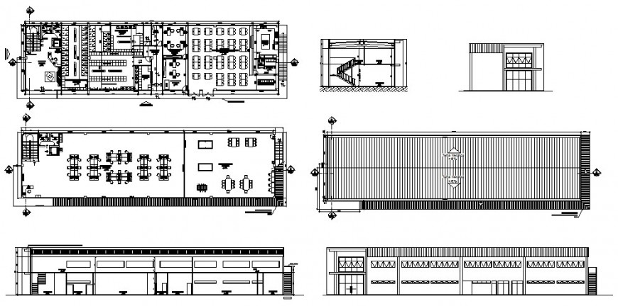 Floor plan, section and auto-cad details of office building dwg file