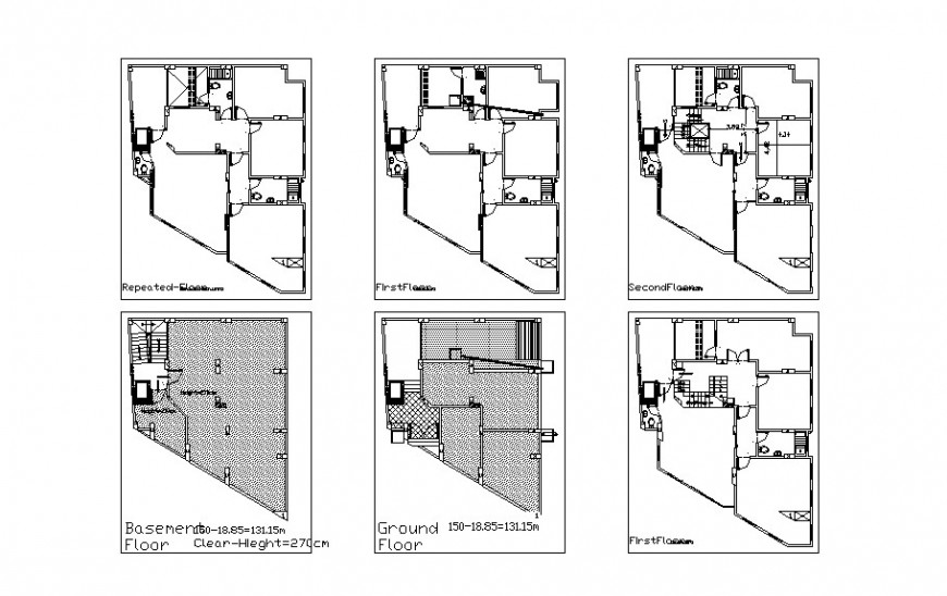 Floor plan, structure and framing plan details of residential villa dwg file