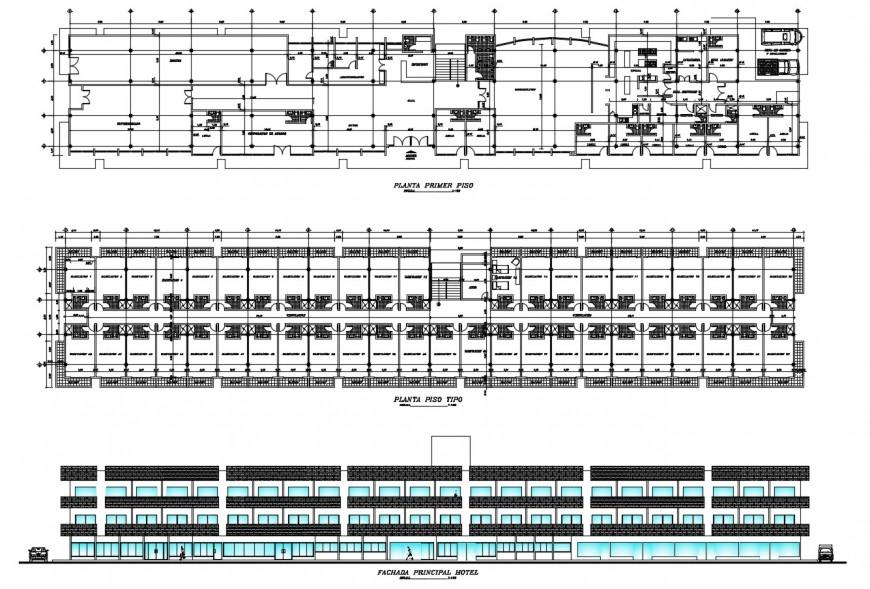 Floor plan , elevation of hotel in auto cad file