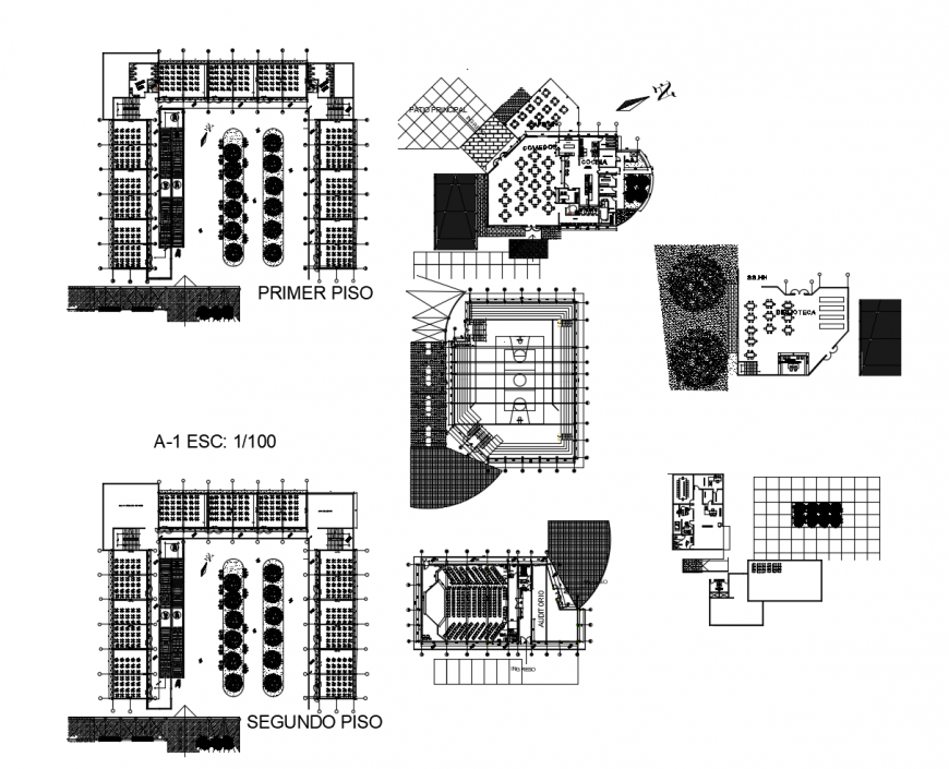 Floor plan and area distribution drawing details of secondary school dwg file