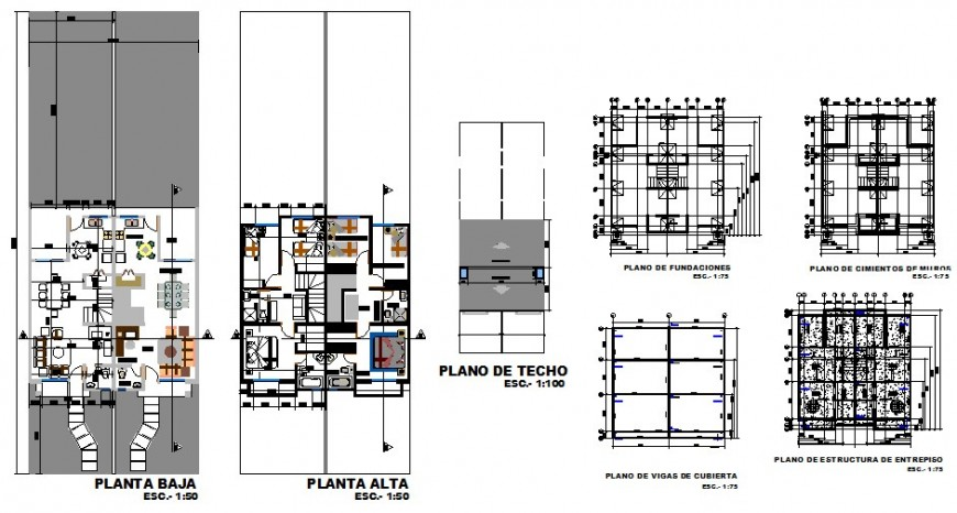 Floor plan and auto-cad details of two level house dwg file