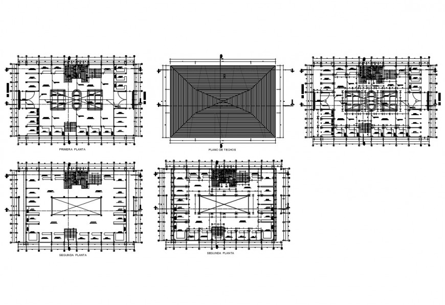 Floor plan and cover plan details of multi-story market dwg file