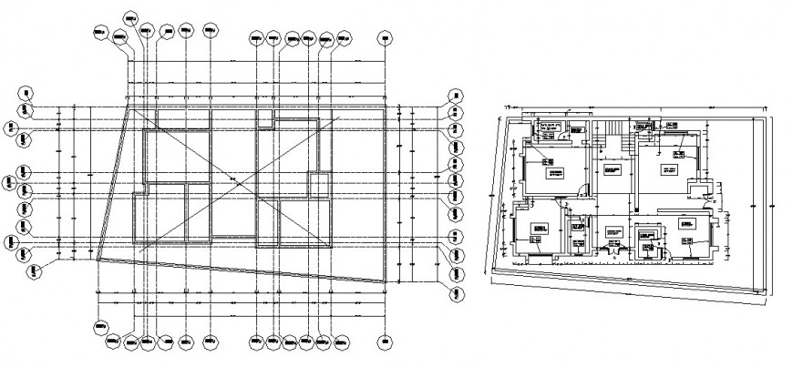 Floor plan and cover plan details of residential house dwg file