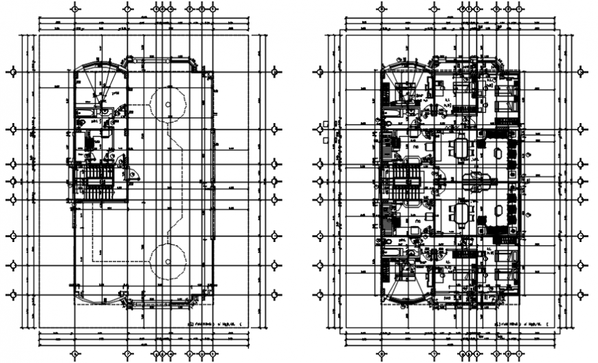 Floor plan and cover plan drawing details of meky villa dwg file