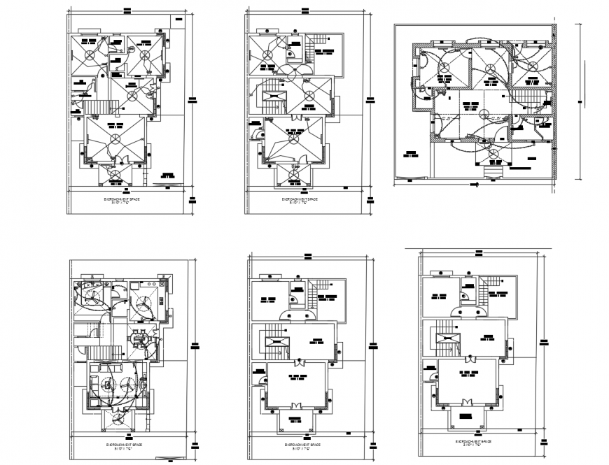 Floor plan and electrical layout plan of residential apartment building dwg file