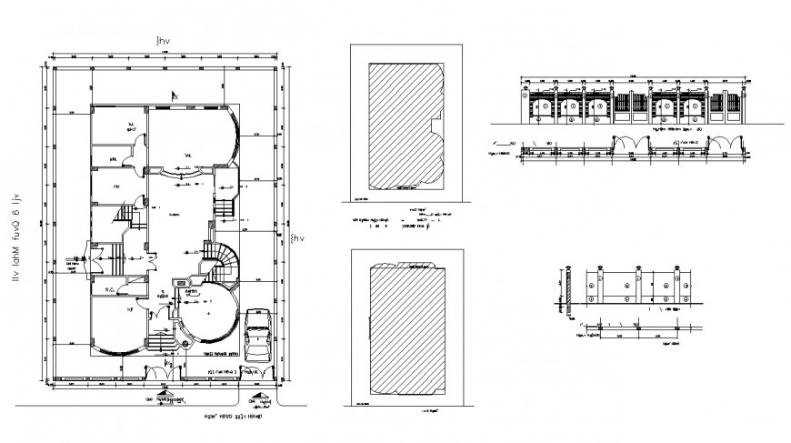 Floor plan and elevation of bungalow in auto cad file