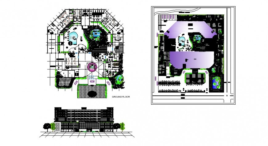 Floor plan and elevation of five star hotels in auto cad file