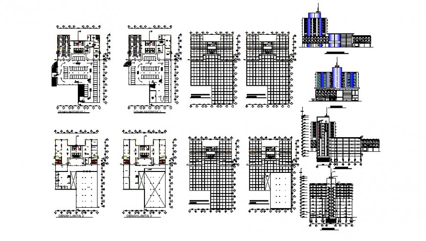 Floor plan and elevation of high rise hotel design in auto cad software