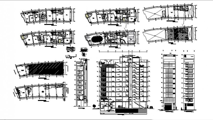 Floor plan and elevation of hotel design in auto cad