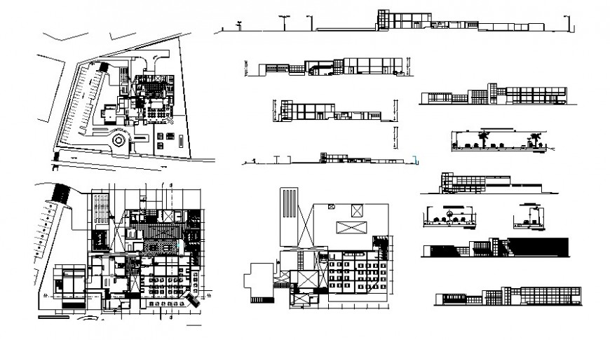 Floor plan and elevation of hotel in auto cad software